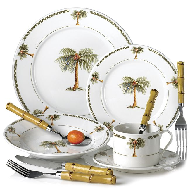 I have this set...Palm Tree Decor | 20PC BAHAMA PALM TREE DINNERWARE ...