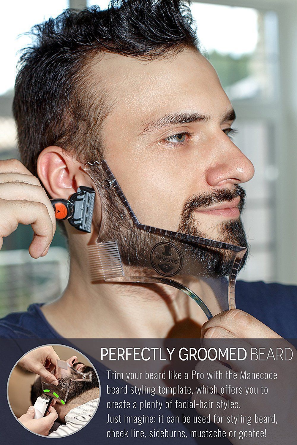 Superb Manecode Beard Guide Clear Barber Shaping Tool Or Trimming Schematic Wiring Diagrams Amerangerunnerswayorg