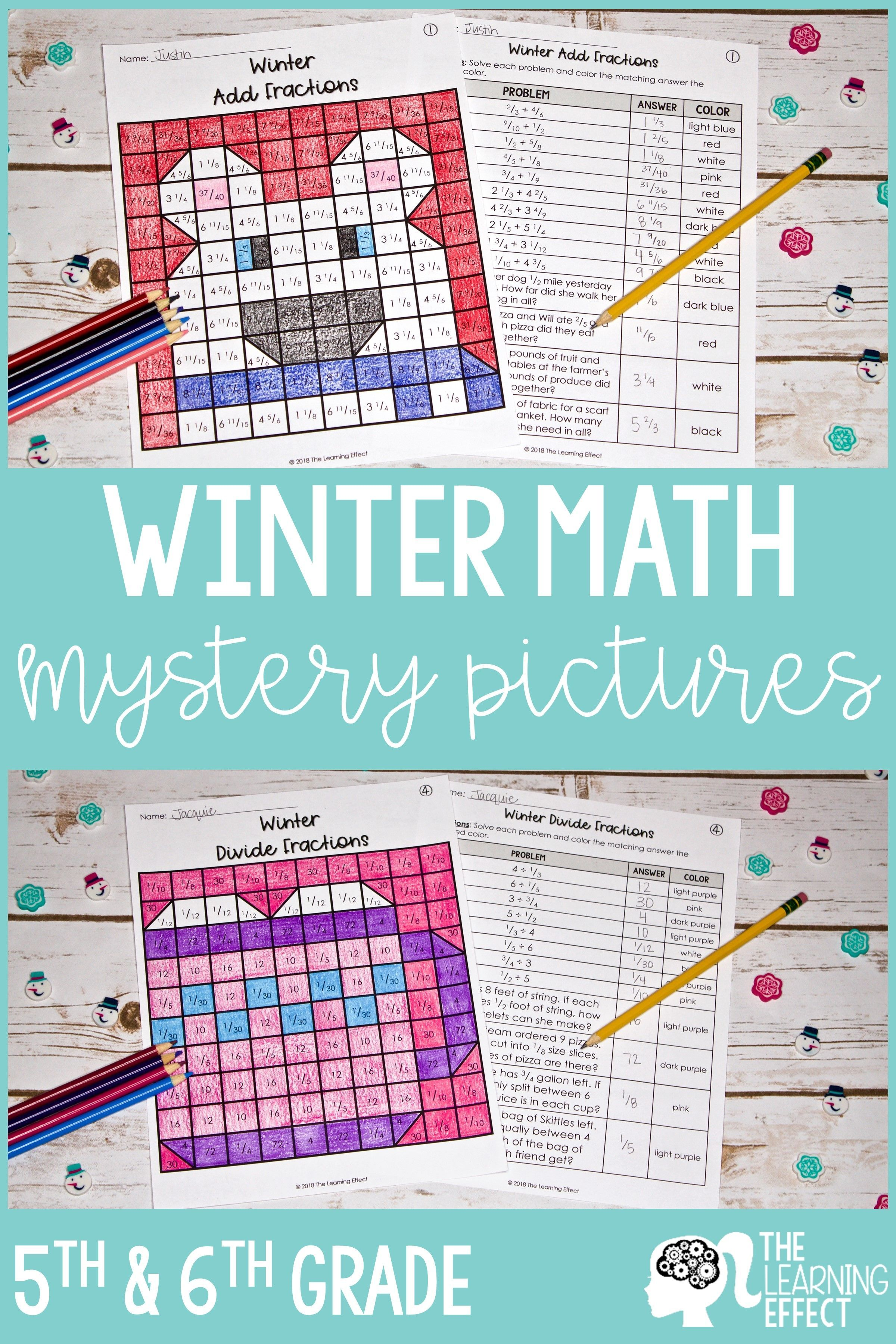 Winter Math Mystery Pictures