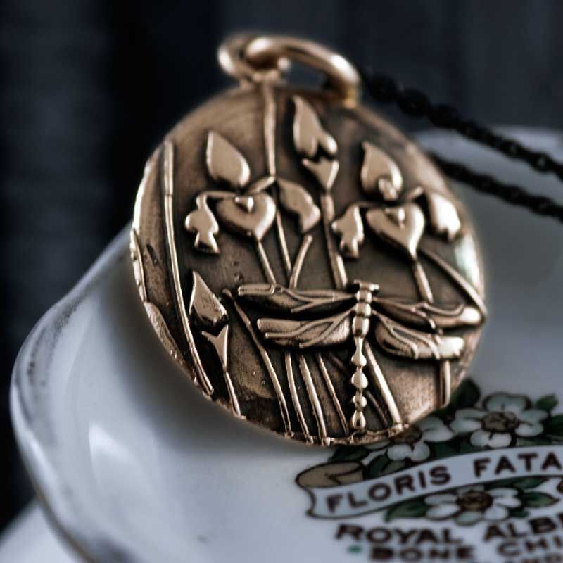 """Floris Fatalis 14kt rose gold handcrafted Iris and Dragonfly pendant 18"""" black rodium sterling silver chain included. by EraDesignJewellery on Etsy https://www.etsy.com/listing/165803675/floris-fatalis-14kt-rose-gold"""