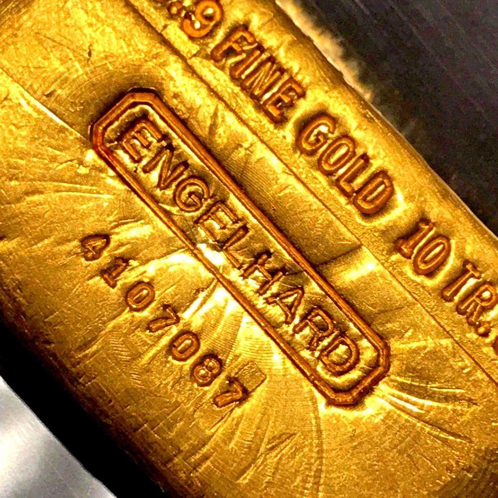 10 Oz Engelhard 999 9 Gold Bar Hand Poured Loaf Sunburst Vintage R96 Gold Money Gold Bar Sunburst