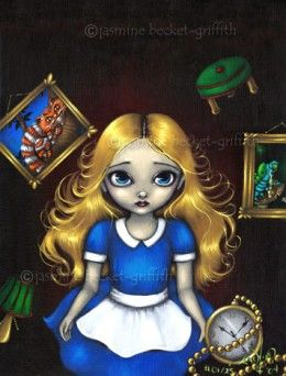 """""""Alice Falling Down the Rabbit Hole"""" by Jasmine Becket-Griffith"""