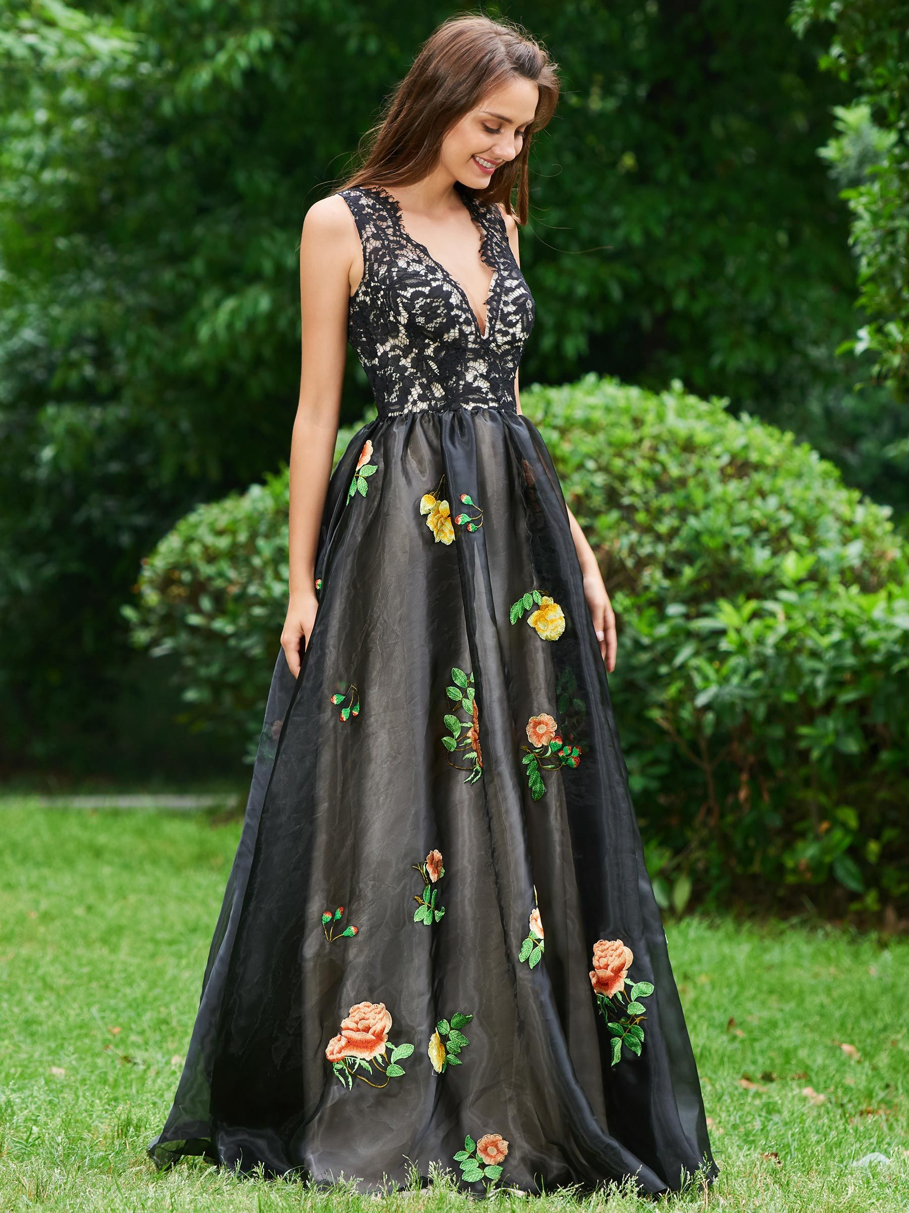 Aline vneck embroidery lace prom dress style pinterest prom