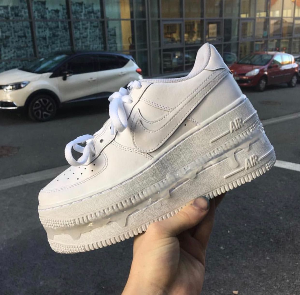 Nike Air Force 1 high tops. really clean with signs Depop