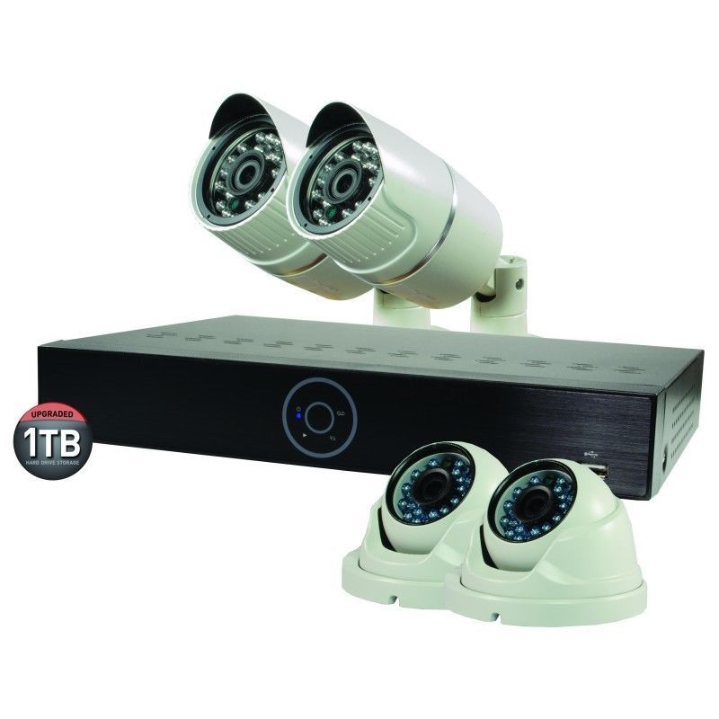 Revo Surveillance Wireless Bullet Camera 4-Channel 1TB 4 1080 Night Vision NVR