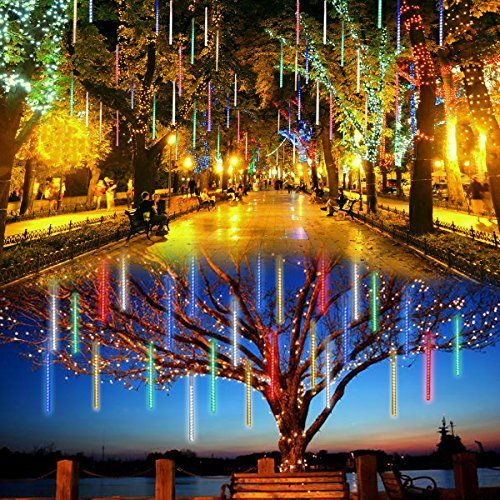 lalapao outdoor christmas string lights solar powered led meteor shower rain lights falling raindrop light 10 tubes 360 led cascading fairy lights for