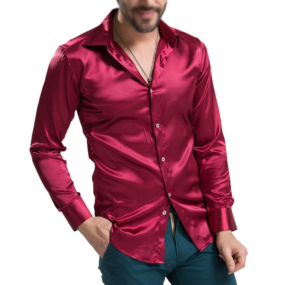 Red flannel outfit guys  Click to Buy ucuc leisure Menus Clothing Highgrade Emulation Silk