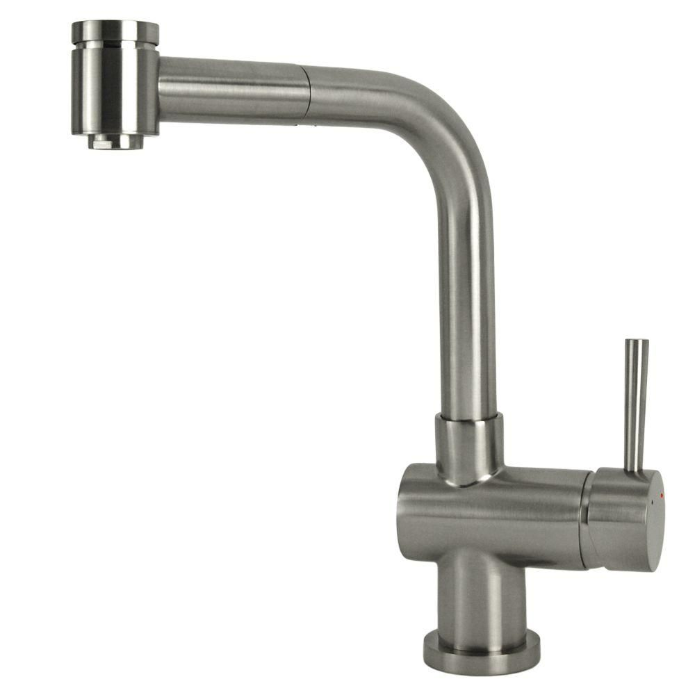 Single Handle Pull Out Sprayer Kitchen Faucet In Brushed Nickel