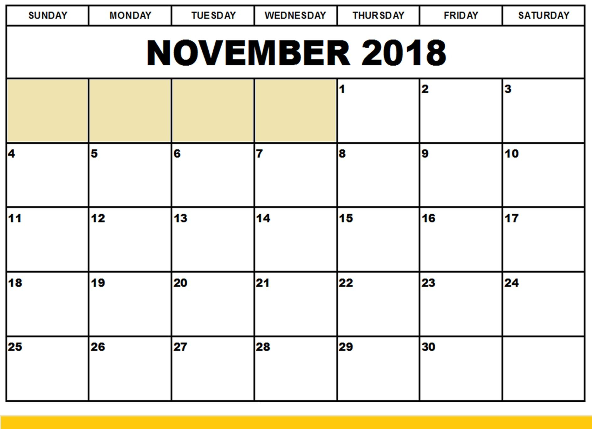 November 2018 Calendar Pdf Printable Template Free With Images