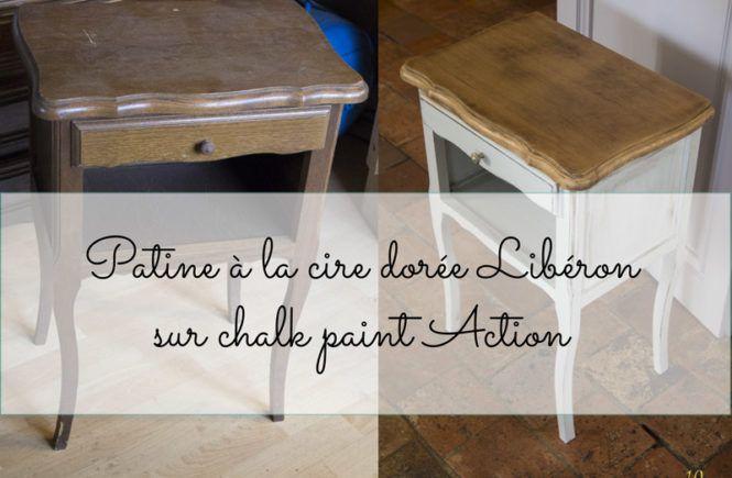 Patine A La Cire Doree Sur Chalk Paint Action Conclusion Sur Le Chevet Relooking De Mobilier Relooker Meuble Peinture Meuble Bois