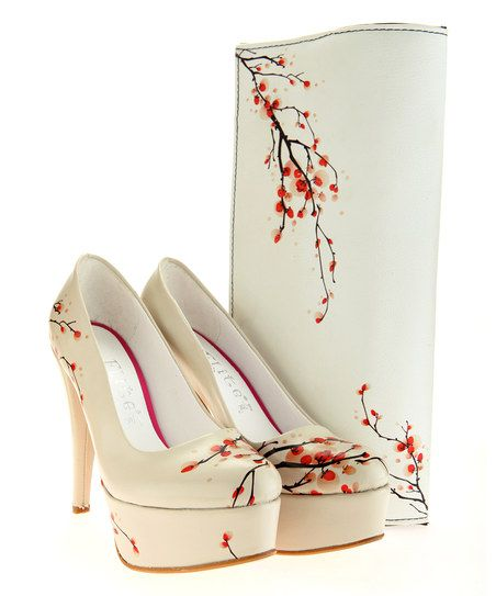 Goby White & Red Cherry Blossom Pump & Clutch | zulily