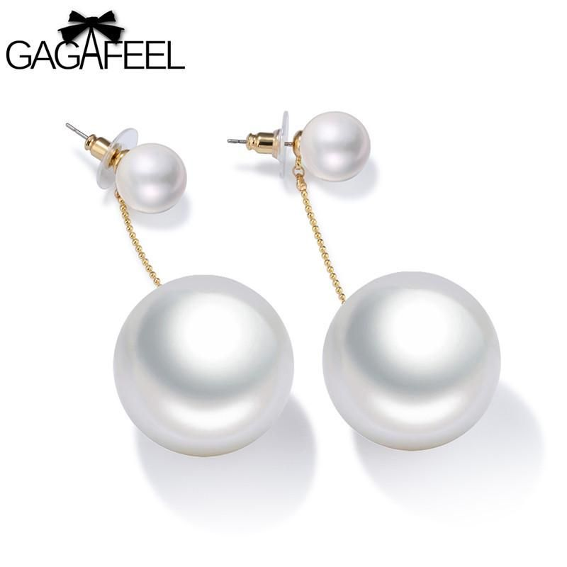 Elegant Simulated Pearl Earring For Women Lady Copper Double Round Drop Earrings Gold Color Pending