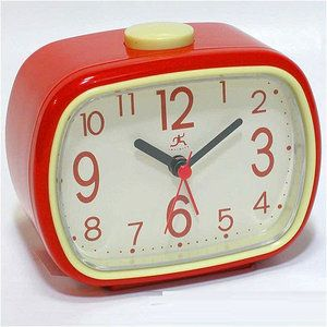 Infinity Instruments Retro Alarm Clock in Red with Cream Face