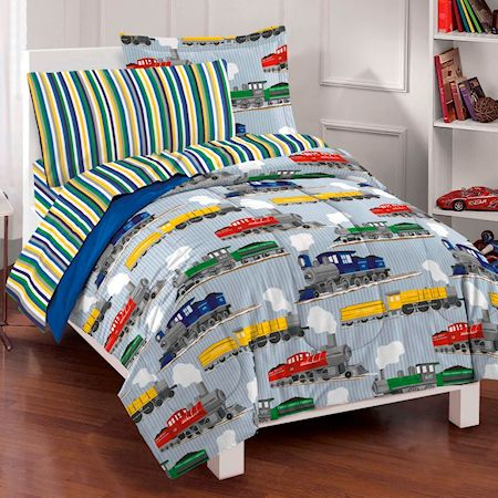 Blue Train Bedding For Boys Twin Or Full Size Comforter Set Bed In