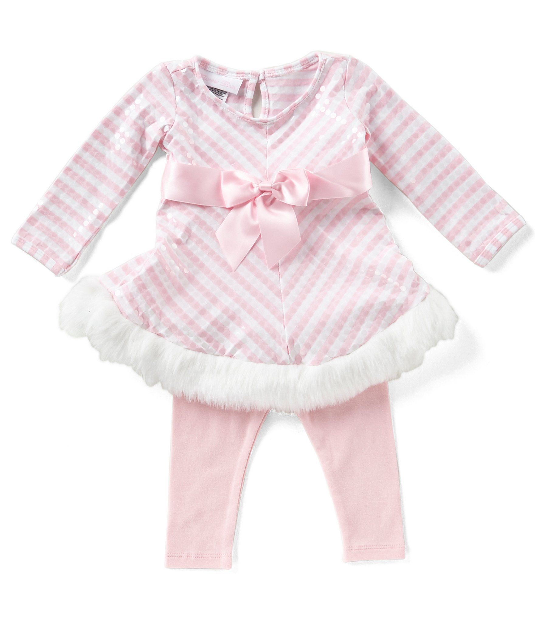a15a276784d Bonnie Baby Baby Girls Newborn24 Months Striped Santa FitAndFlare Dress and  Solid Leggings Set  Dillards