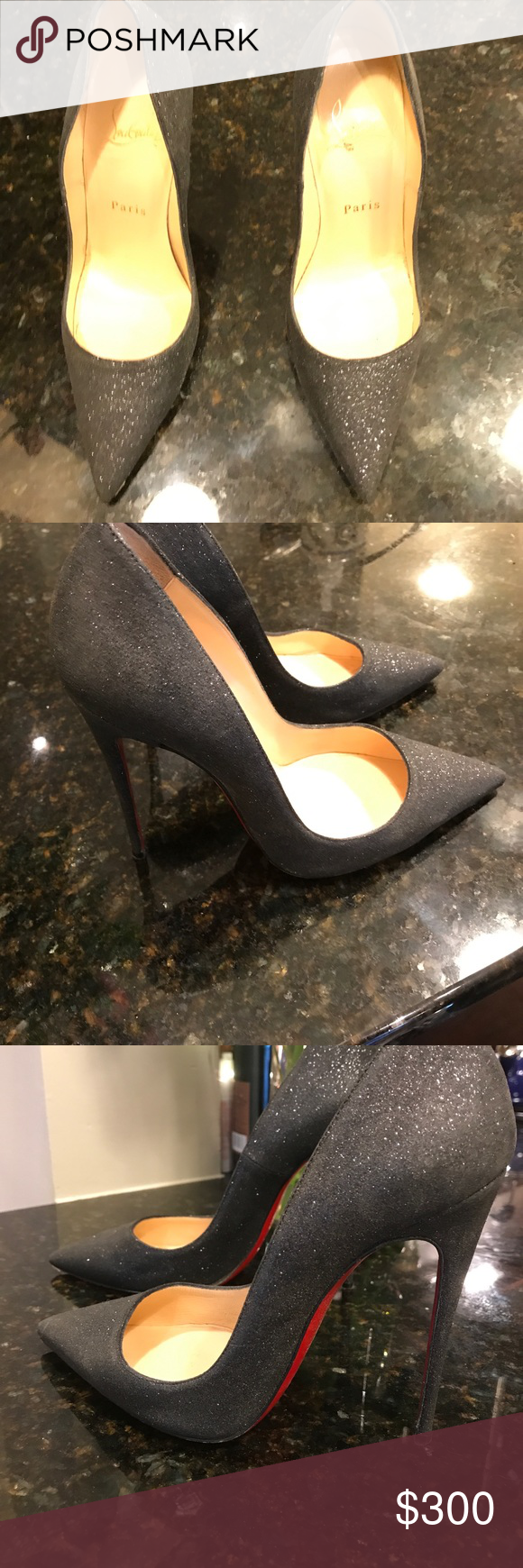 Christian Louboutin Heels Size 6 Christian Louboutin heels. Worn a few times but in good condition. As typical with Christian Louboutin's the red sole starts to wears off after wearing even once. Christian Louboutin Shoes Heels