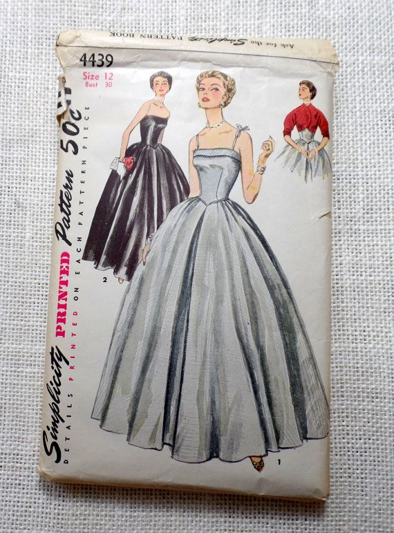 Vintage Simplicity 4439 sewing pattern 1950s Bust 30 New Look Full ...