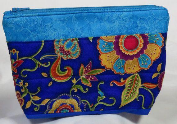 Beautiful Blue Zipper Bag by carriedawaywithjill on Etsy