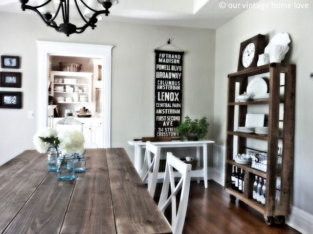 Simple And Clean, With Subway Roll Sign | Our Vintage Home Love: Dining Room