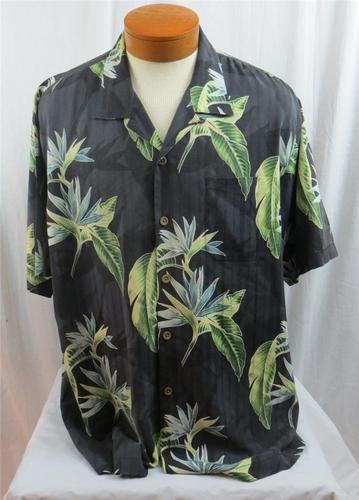 03f6b149 Tommy Bahama Men's Hawaiian Camp Shirt Black 100 Silk Bird of Paradise XL |  eBay $39.95