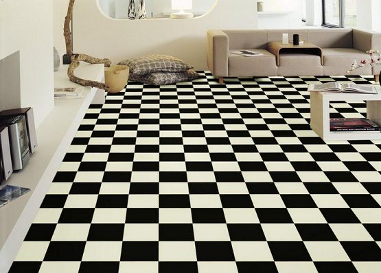 Living Room With Black And White Vinyl Flooring