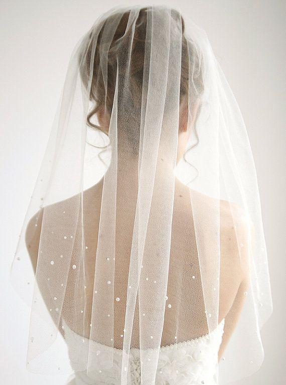 Photo of Vela de boda de tul de seda de perlas, 1 / velo de tul de un solo nivel, velo de boda simple, velo de codo corto, miel – estilo V06