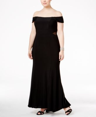 e1367cfb80492 Xscape Plus Size Off-The-Shoulder Illusion Gown | macys.com ...