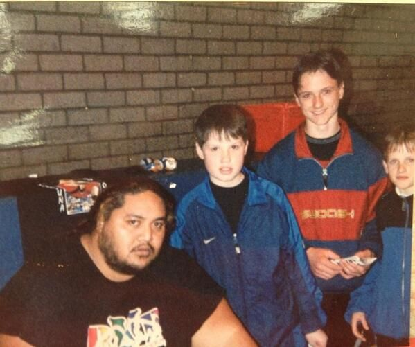 Former Wwe Superstar Drew Mcintyre Andrew Galloway As A Kid With The Late Wwe Hall Of Fame Superstar Yokoz Drew Galloway Professional Wrestling Drew Mcintyre