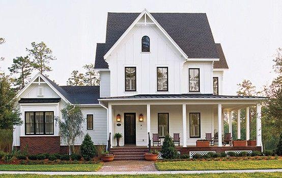 White Modern Farmhouse With Wraparound Porch Porch House Plans
