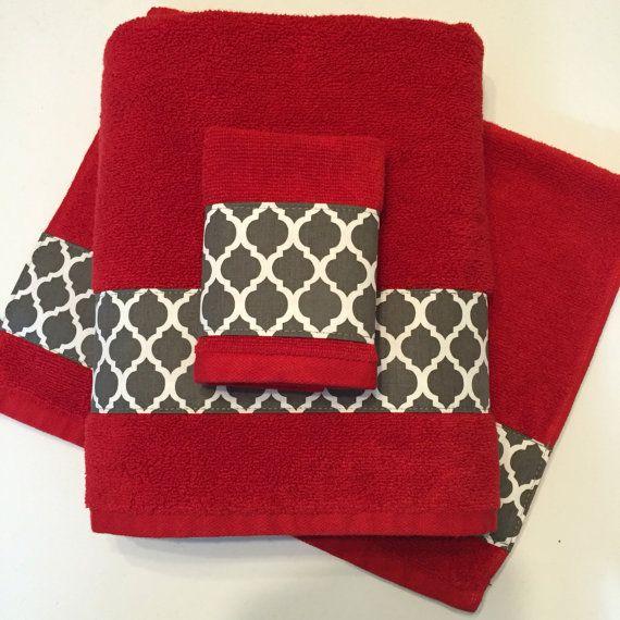 Red Grey Bath Towels Bathroom Towel Bath Towel Hand By AugustAve On ETsy  Charcoal Grey Red Bathroom Decor