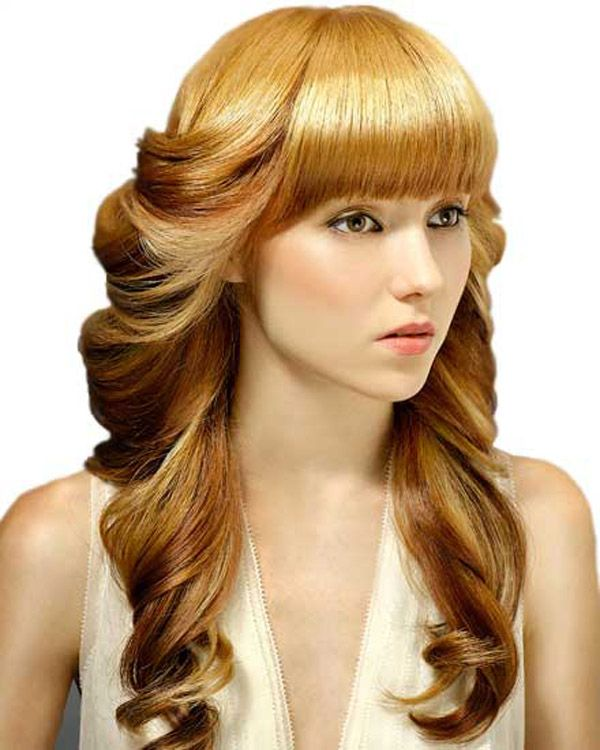 Long Curly Prom Hairstyles with Bangs | Prom hairstyles for long hair, Long hair tumblr, Long ...