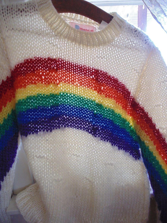8db478ab38f7 vintage 80 s Rainbow sweater med