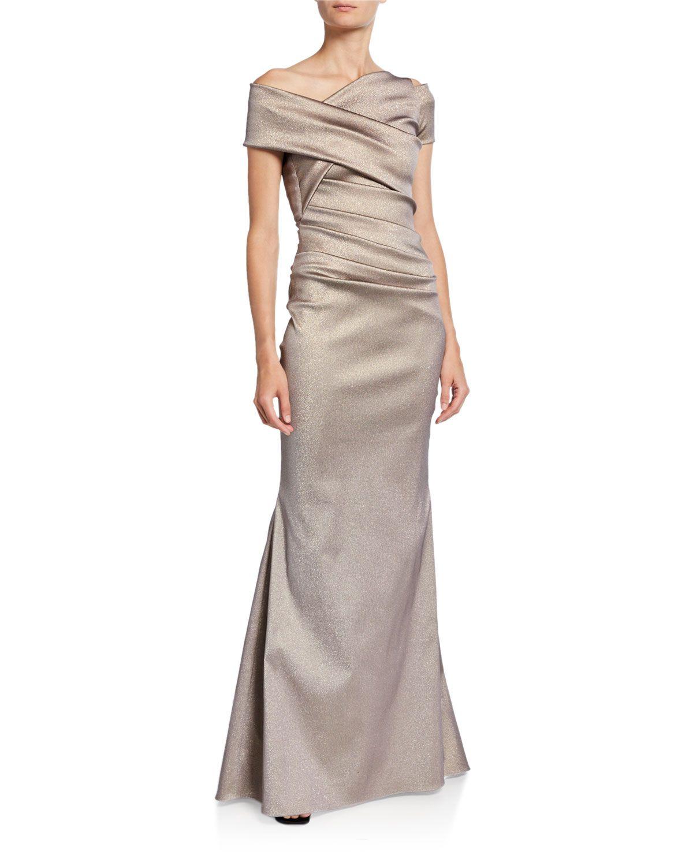 Talbot Runhof Asymmetric Draped Waist Gown Evening Gowns Tiered Ruffle Skirt Gowns [ 1500 x 1200 Pixel ]