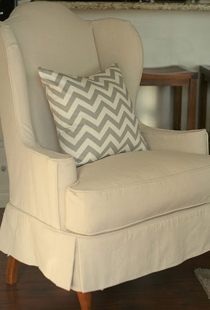Drop Cloth Wingback Chair Slipcovers For Chairs Wingback Chair