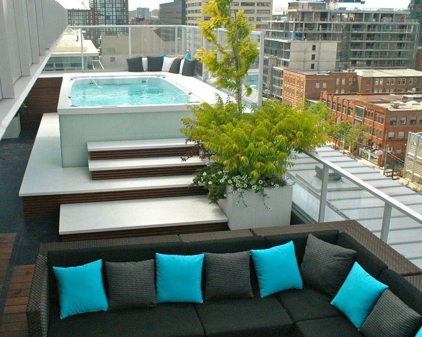 Modern Rooftop Pool Design Ideas Rooftop Pool Hot Tub Patio