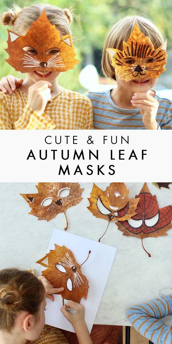 Superhero & Animal Leaf Masks - A Fun Craft for Autumn #easyupdo