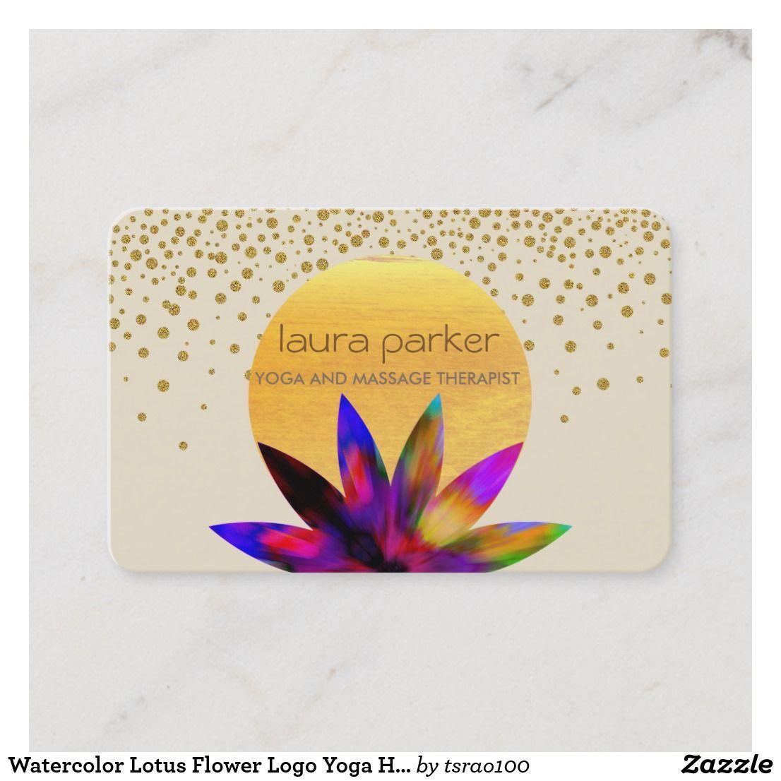 Carte De Visite Sant Curative Yoga Logo Fleur Lotus