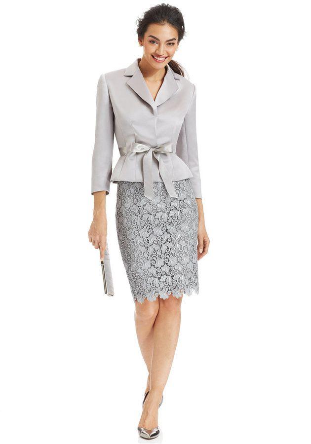 822469d783d4 Tahari ASL Belted Jacket & Lace Skirt Suit on shopstyle.com | dressy ...