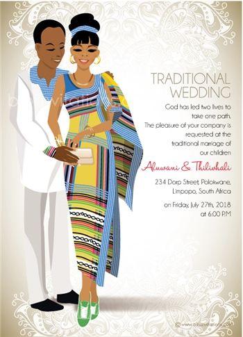 Funanani Venda South African Traditional Wedding Invitation Traditional Wedding Invitations Traditional Wedding Classic Wedding Styles