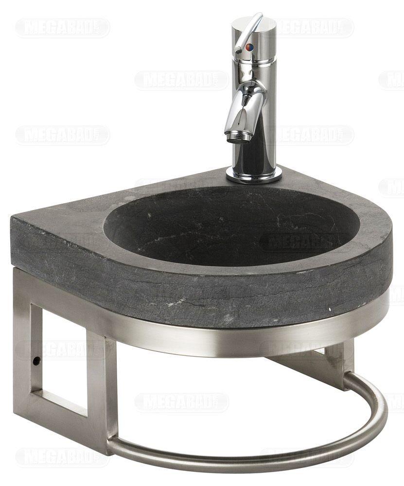 megabad bluestone naturstein-handwaschbecken halbrund 30 cm mit, Badezimmer ideen
