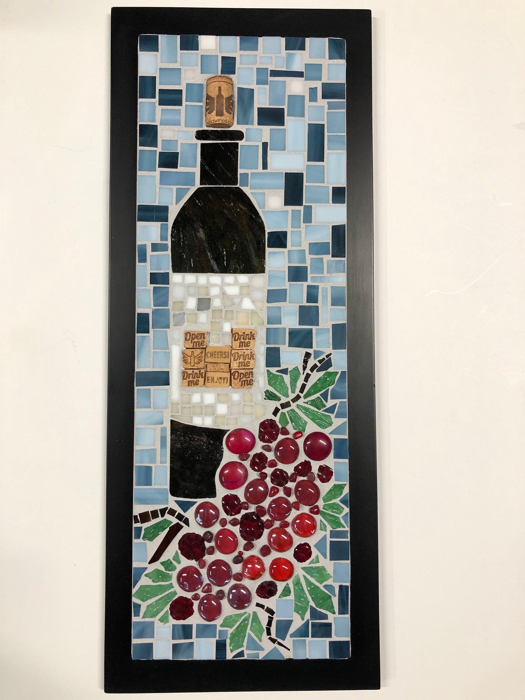 Mosaic wall decor red wine 20 x 8 mosaic wall wall