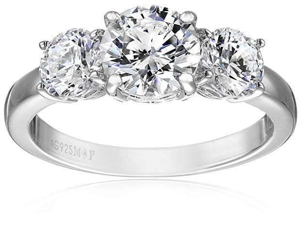 668d842beebd5 Platinum Plated Sterling Silver Three-Stone Anniversary Ring set ...