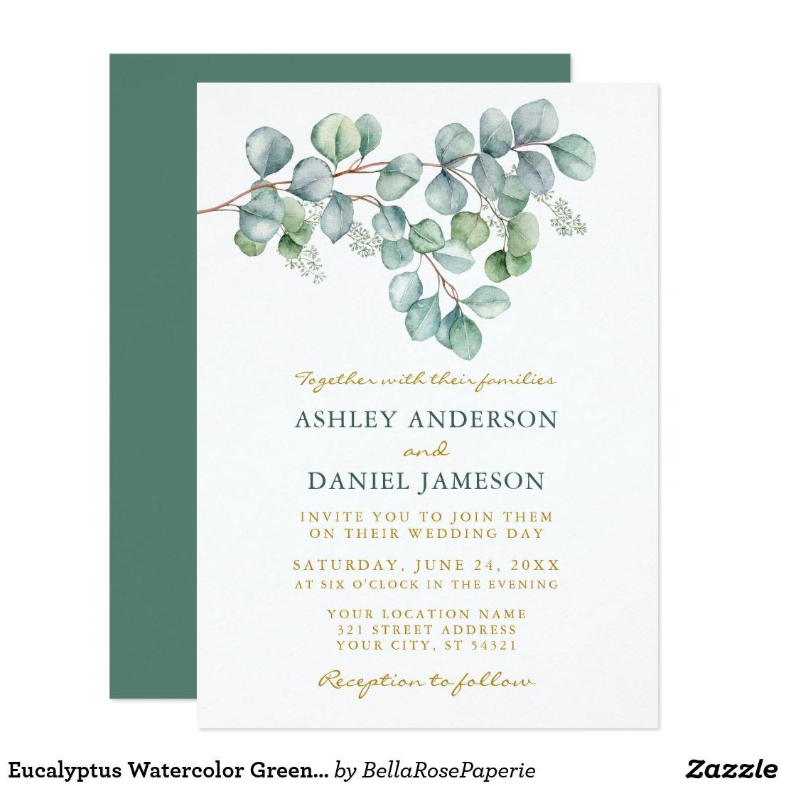 Eucalyptus watercolor greenery wedding gold invitation