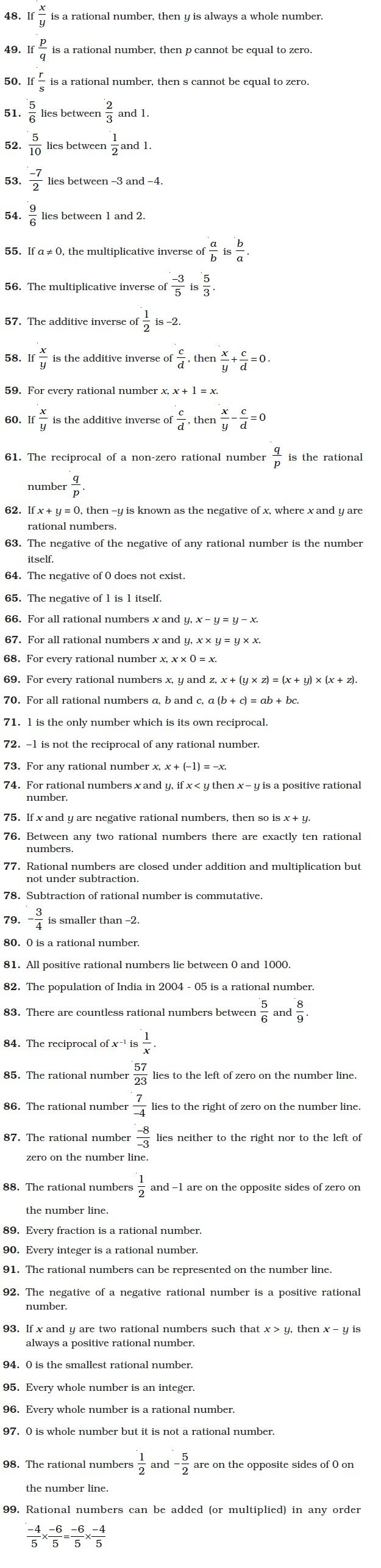 Fresh Ideas - Class 8 Important Questions for Maths Rational Numbers