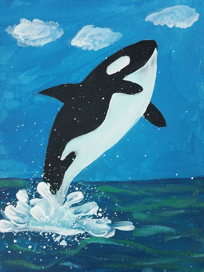 Killer whale painting suitable for kids 8 1 hr step by for Step by step canvas painting for kids