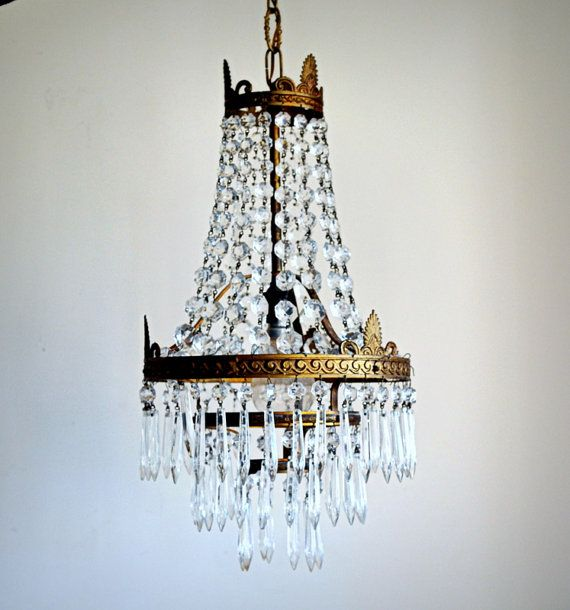 Beautiful Crystal Chandelier And Vintage Bronze 1920 Typical French Empire Style Of The Era Napoleon
