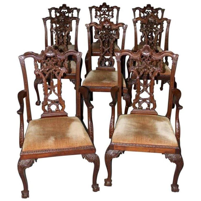 Wondrous Rare Set Of Eight Carved Mahogany Chippendale Style Ribbon Short Links Chair Design For Home Short Linksinfo