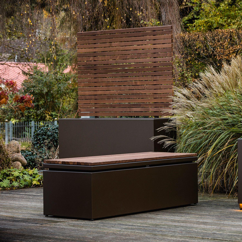 Kissentruhe Von Gartensilber Mit Teak Sitzflache Kissentruhe Aufbewahrungsbox Garten Kissenbox Garten