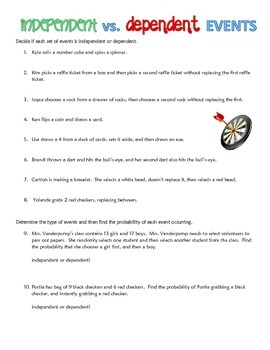 Printables Independent And Dependent Events Worksheet probability independent dependent events compound students will read through situations and decide if they are or then calculate the probability
