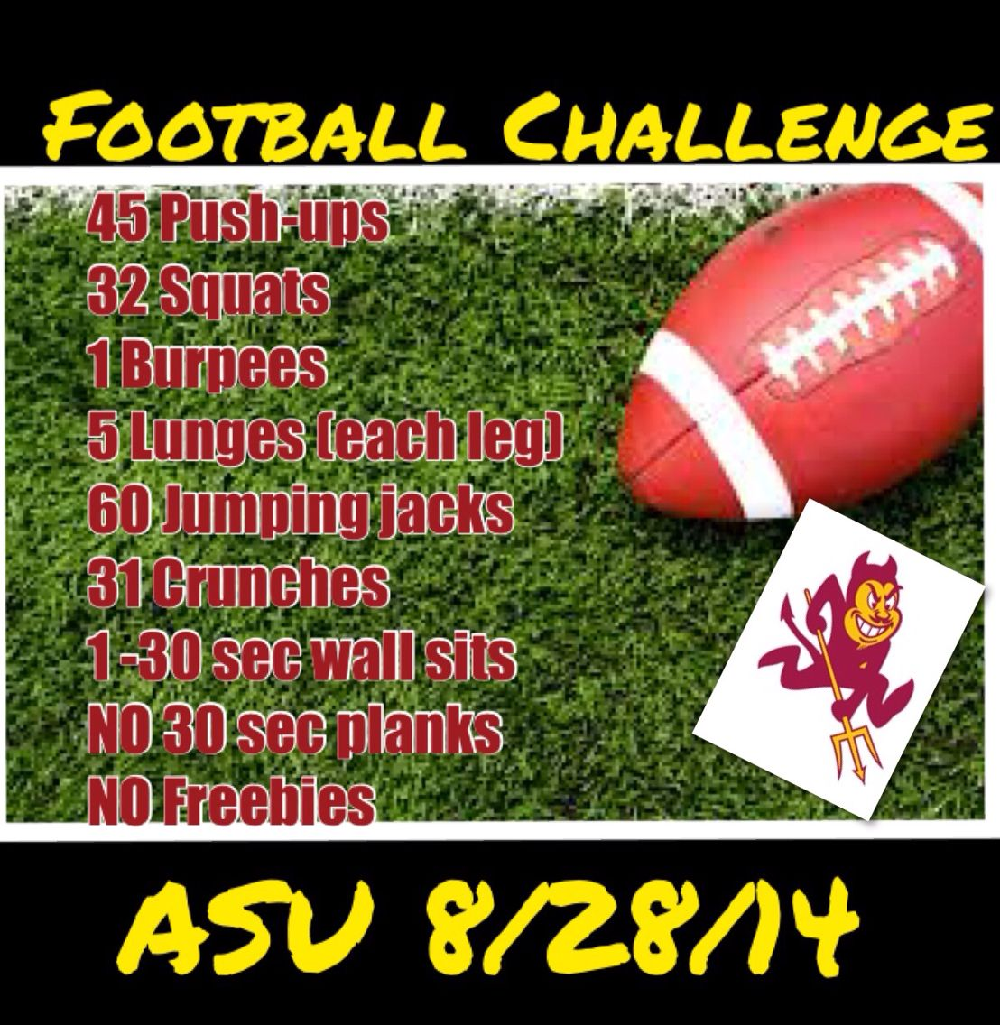 Asu Game 1 Football Challenges Football Workouts Workout